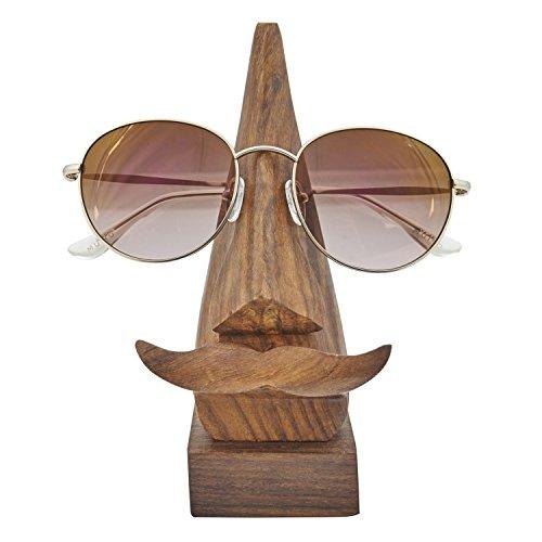 icrafts witzig Hand geschnitzt aus Holz Schlüsselanhängerform Brillenhalter mit einer lustigen Schnurrbart Home Dekorative