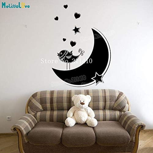 ker Bird on the Moon adesivo de parede Home Decor For Kid Baby Room Removable Lovely Mural Unique Gift Y 56 * 56cm ()