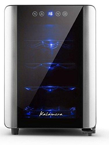 Kalamera KR-12A2E Silent 12 Bottles (up to 310 mm height) Wine fridge , temperature zones 10-18 °Touchscreen Wine Cooler, Wine refrigerator, Black,countertop.