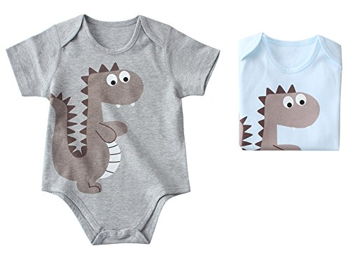 DQQ Bambino Cotone Manica Corta dinosauro Onesies Body Light Blue+Grey (2 pack) 24 Mesi