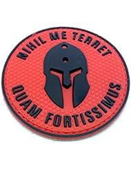 Nihil Me Terret quam fortissimus Spartan rojo PVC Airsoft Patch