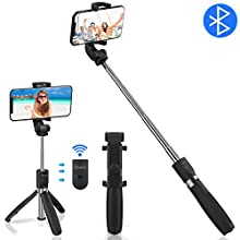 """Abafia Bluetooth Selfie Stick Tripod, 3 in 1 Extendable Selfie Stick Stand With Wireless Remote Multifunctional Monopod Clamp Phone Holder for iPhone/Samsung Galaxy/Huawei/Xiaomi (3.5""""- 6.0"""")"""