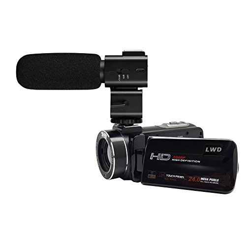 LWD 1080p Full HD Wifi Digital-Videokamera 30FPS 24MP 16X Zoom Digital-Videokamera mit externem MIC-Digital-Camcorder mit professioneller Kamera montiert Shotgun Boom-Mikrofon (Z20)