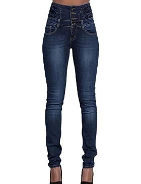Vaqueros para Mujer Moda Cintura Alta Slim Fit Denim Pantalones con Bolsillos Casual Straight Jeans Pantalones...