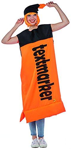 Textmarker Kostüm orange Stift Spaßkostüm Fasching Partnerkostüm Karneval - Textmarker Kostüm