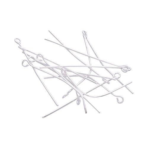 nbeads 1000 g Plaqué Argent tiges à Fer pour la Confection de Bijoux travaux manuels, Taille : 35 x 0.7 mm, Trou : Environ 2 mm, Environ 7000 pcs/1000 g