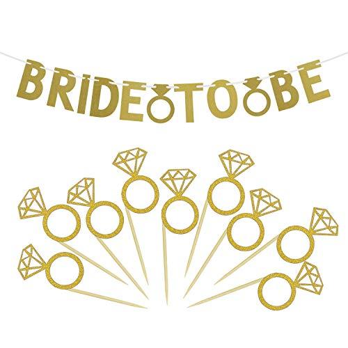SelfTek Verlobungsfeier Dekorationen Kit Braut Banner und 50 Stück Diamant Ring Cupcake Topper