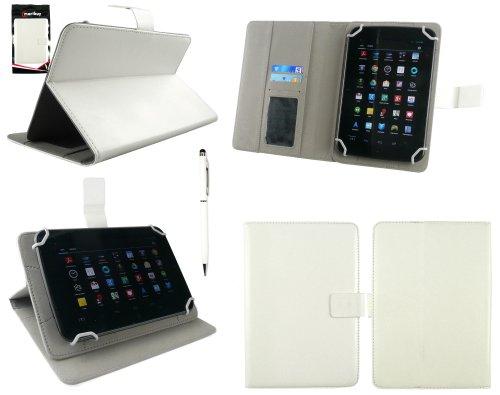Emartbuy® AlpenTab 7 Zoll Tablet PC Universalbereich Weiß Multi Winkel Folio Executive Case Cover Wallet Hülle Schutzhülle mit Kartensteckplätze + Weiß 2 in 1 Eingabestift