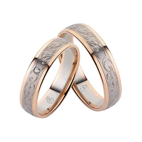 CORE by Schumann Design Trauringe Eheringe aus 333 Gold Rotgold/Palladium Bicolor mit echten Diamanten Gratis Testringservice & Gravur 19024263 - Mens Eheringe Palladium