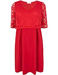 da2694c3d69 Yours Clothing Women s Plus Size London Midi Dress with Lace Overlay