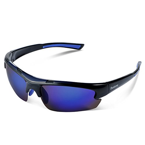 Duduma Polarisierter Sport Herren Sonnenbrille für Ski Fahren Golf Laufen Radsport Tr62 Superleichtes Rahmen Design für Herren und Damen (Schwarz Blauen Rahmen mit Blau Linse)