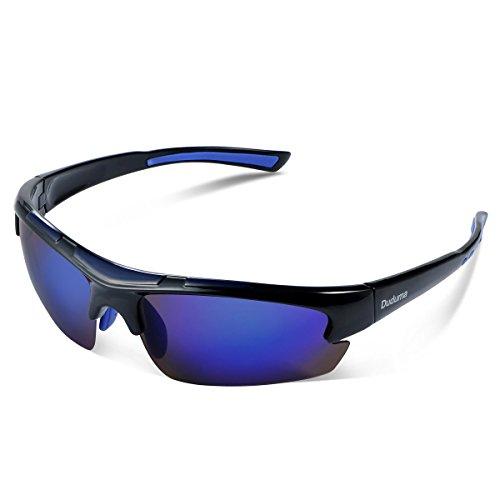 Duduma Gafas de Sol Deportivas Polarizadas Perfectas Para Esquiar Golf Correr Ciclismo TR62 Súper Liviana Para Hombre y Para Mujer (marco azul negro con lente azul)