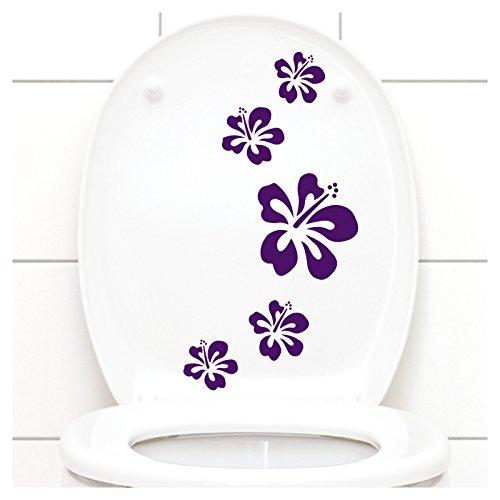 Grandora Klodeckel Aufkleber Hibiskusblüten I violett 5er Kreativset I Bad Blüten Blumen Hibiskus Aufkleber Wandaufkleber Wandsticker W916