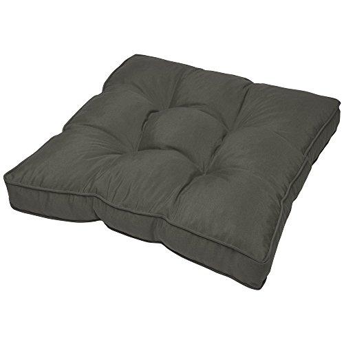 Beautissu Coussin Lounge - pour Assise - pour extérieur - Imperméable - Anthracite - 50x50x10 cm - Idéal pour Jardin, Balcon