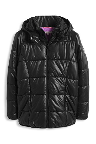 ESPRIT Mädchen Jacke mit abknöpfbarer Kapuze, Einfarbig, Gr. 164 (Herstellergröße: L), Schwarz (BLACK 001)