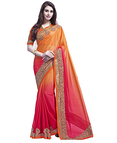 Women's Ethnic Clothing Orange Pink Georgette Sarees For Women Party Wear Offer...