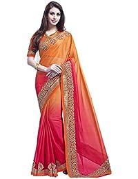 Arawins Women's Georgette Saree With Blouse Piece (Meera Orange Saree_Orange)