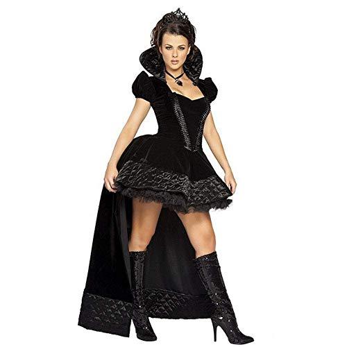 FrebAfOS Rollenspiele, Märchen, Vicious Black Queen, Kostüm, Halloween-Party-Spiel, magisches Kleid, Königin-Kleid, eine Größe