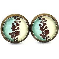 Handmade Glas-Ohrstecker 3 farbig türkis / gelb / schwarz by Schmuckphantasien 10mm bronze Glas-Cabochon Ohrringe handgefertigt für Damen edel auch in Edelstahl oder silber individuell