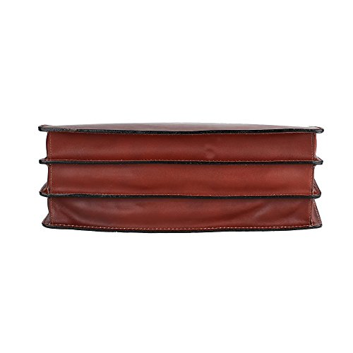 Unisex Aktentasche, Business Handtasche mit Schulterriemen, Laptophalter, aus echtem Leder Made in Italy Chicca Borse 39x30x17 Cm Braun