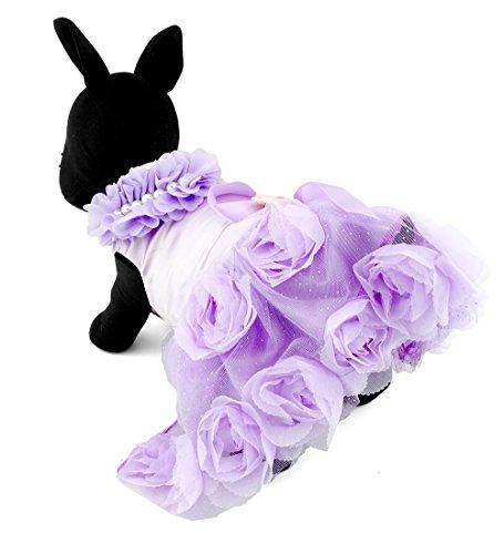 zunea Pet Apparel klein Hund Puppy Katze Kleidung Satin Rose formelle Kleid Tutu Hochzeit Kostüm