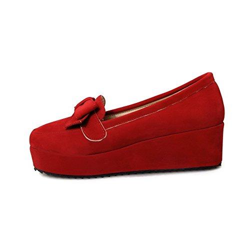 VogueZone009 Femme Tire Suédé Rond à Talon Correct Couleur Unie Chaussures Légeres Rouge