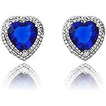 Neoglory Cristal Pendientes Aretes Semental Corazon del Mar Amor Love Heart Circonita Azul Rhinestones Checos Blancos Joya Original Regalos para Mujer