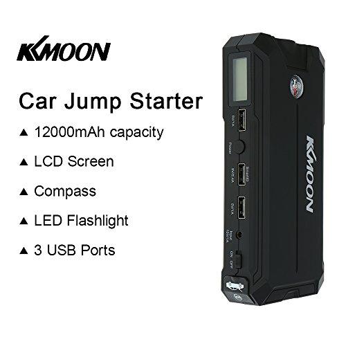 KKMOON-12000mAh-Portatile-Auto-Jump-Starter-Booster-Potenza-Banca-Veicolo-Emergenza-Kit-Caricabatterie-con-Schermo-LCD-e-3-Porte-USB-di-Ricarica-Built-in-LED-Torcia-per-IOS-Android-Smartphone-ecc