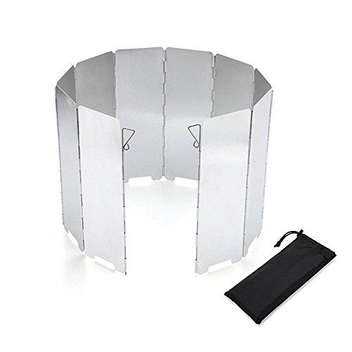 Aolvo Ofen Superlight tragbar faltbar Camping-Herd, und die Windschutzscheibe Windschutzscheibe, Groß, kompakt-Windbreak für Solo-Gewürzdose Gaskocher Campingkocher Butan Kocher mit Gaskocher, silver 10 plates