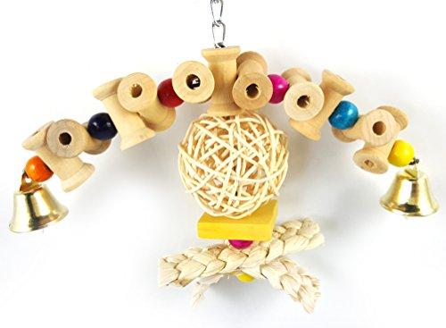 Bird Chew Toy, Holz Durable Bite Rattan Ball Spielzeug Papagei Swing Leiter Hanging Block Farbe Sepak Bead String Schleifen Klaue Medium Small Pet Rack Supplies (Ball-rack Holz)