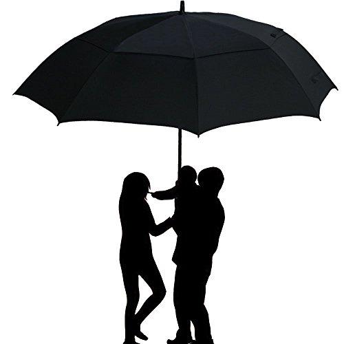 Grand Parapluie Automatique de Golf Noir TOMOUNT Solide Homme Femme Taille 62' Anti UV Anti Retournement Tempête Vent - Noir