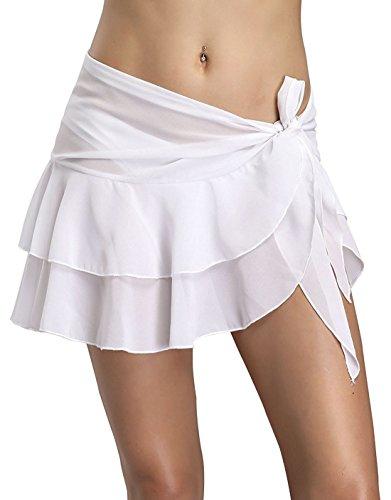Helury Strandkleid Röck Damen Bikinikleider Badeanzug Bikini Cover Sommerkleid Chiffon Lang Sommer Bademode (Weiß)