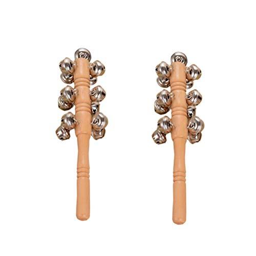 YeahiBaby 2 Stücke Baby Glocken Rassel Spielzeug mit Holzgriff Holzrassel Schellenstab Musikinstrumente Spielzeug für Kinder Kleinkinder (13 Glöckchen)