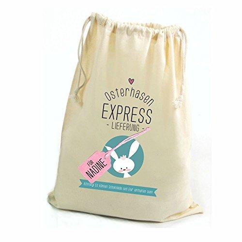 4you Design Zuziehbeutel Osterhasen Express Lieferung mit Namen personalisiert ♡Geschenkbeutel ♡Tasche ♡Hase ♡Ostern ♡Kordelzug