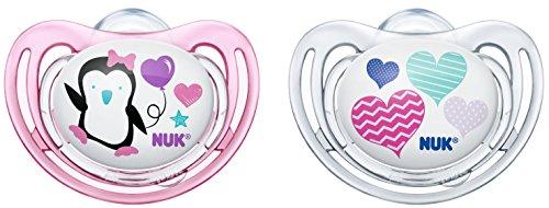 Nuk 10175138 Freestyle Silikon-Schnuller mit Ring, kiefergerechte Nuk Form, 0-6 Monate, 2 Stück, Girl