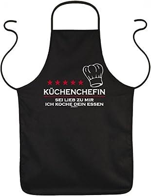 Grill und Koch Schürze - Küchenchefin Sei lieb zu mir - bedruckter Baumwoll Kittel als Geschenk für die lustige Köchin