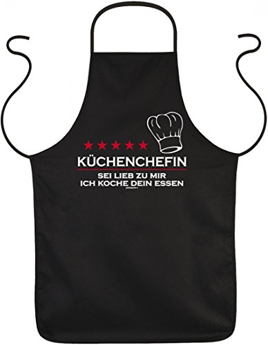 Grill und Koch Schürze - Küchenchefin Sei lieb zu mir - bedruckter Baumwoll Kittel als Geschenk für die lustige Köchin (Schürze Köche Lustige)