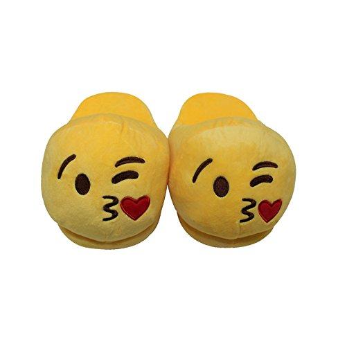 Htuk® Emoji-Hausschuhe, Plüsch, gefüttert, mit Smiley, für Damen und Herren, Einheitsgröße, flauschig Kuss-Design