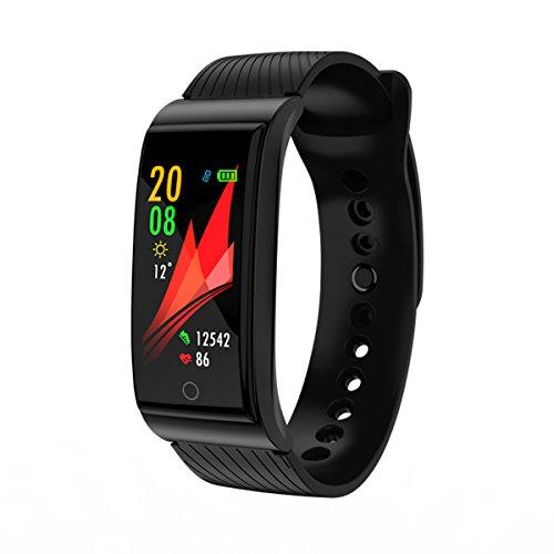 Noodei F4 Smart Armband Herzfrequenz Tracker Blutdruck Sauerstoff Fitness Armband IP68 Wasserdichte GPS Smart Uhr GPS-Einheiten ausführen (Farbe : Black)