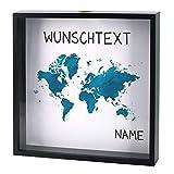 Herz & Heim® Schwarzer Bilderrahmen als Spardose - Weltenbummler - mit Namen und Wunschtext - perfekt als Geldgeschenk