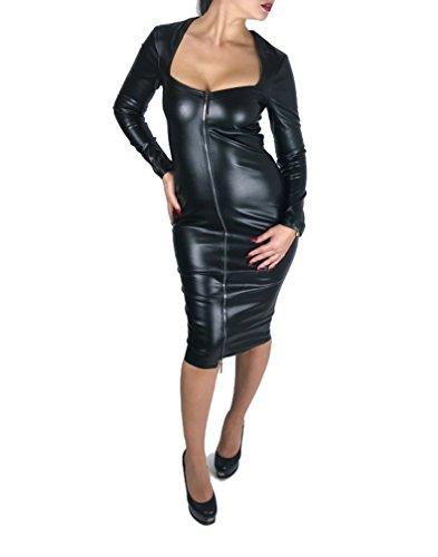 MASEMU Kleid Lederkleid Bleistiftkleid Abendkleid Cocktailkleid Midikleid Lederlook glänzend...