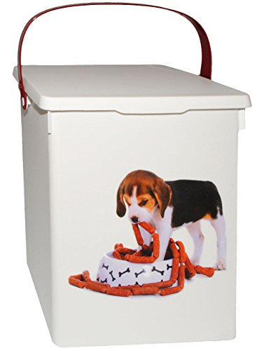 alles-meine.de GmbH Futterdose / Futterbox -  süßer Hund  - für Tierfutter - Hundefutter - 5 Liter - Vorratsdose / Aufbewahrungsbox - aus Kunststoff / Dose - Kiste mit Deckel u.. (Kunststoff Kiste Große Hund)