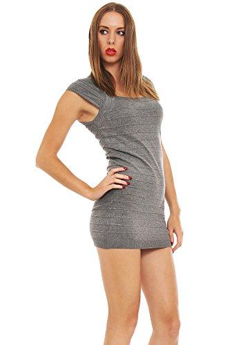 5473 Fashion4Young mini-robe en tricot pour femme mini robe pull en 8 couleurs disponibles Gris - Gris