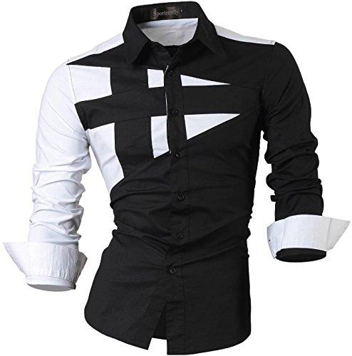 And Black Kostüm Herren White - Sportrendy Herren Freizeit Hemden Slim Button Down Long Sleeves Dress Shirts Tops JZS054 Black L