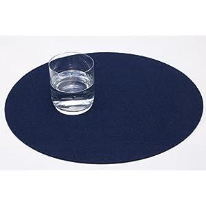 Filz Platzset Tischset rund, 4er Set , waschbar, Gilde Handwerk (kobalt blau)