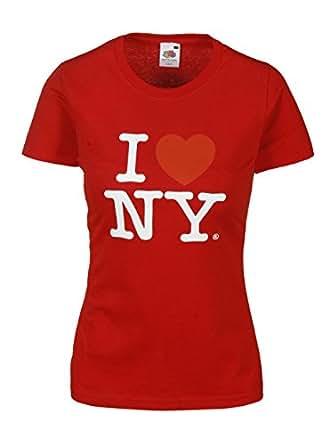I Love NY T-Shirt Damen Herz Shirt weiblicher Schnitt verschiedene Farben hochwertiger Druck. Damentop mit Love Motiv Rot Grš§e XS
