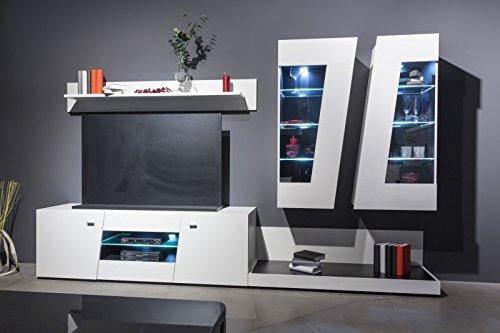 Wohnwand 'Change' Hochglanz Weiß/Schwarz Tv Wand