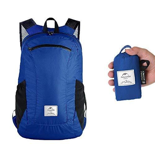 Faltbar Rucksack, leicht verstaubar, wasserabweisend, für Schule, Reisen, Sport, wasserdicht, extrem leicht, unisex, 18 l Blau marineblau