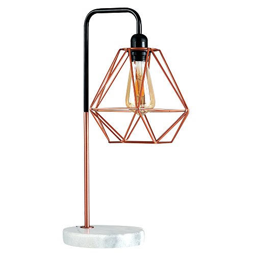 Retro Style Black / Copper Metal U0026 White Marble Base Table Lamp   Complete  With A Copper Metal Basket Cage Shade