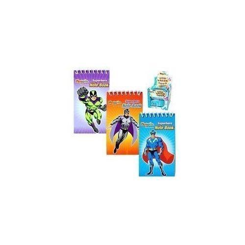 Spiral-design (12 Mini Super Hero Spiral Notebooks - Party bag fillers - 3 Designs)